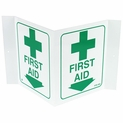 "3D Angle First Aid Location Arrow Sign - Rigid Plastic - 5"" x 6"""