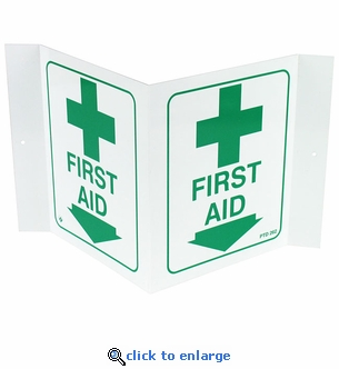 Plastic 3D Angle First Aid Location Arrow Sign - 5