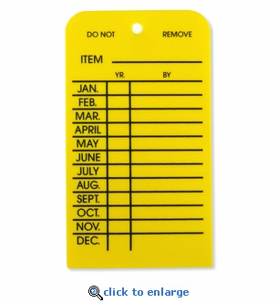 Plastic Fire Extinguisher Monthly Inspection Tag - Yellow - 2 3/8