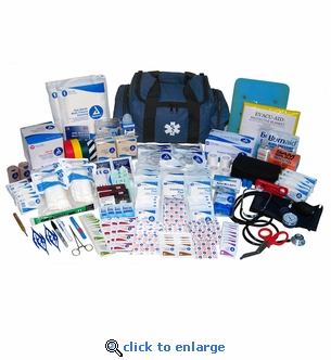 Professional EMT First Responder Medical Kit - 568 Pieces - Navy Bag