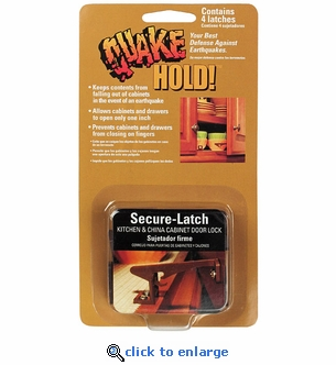 Quakehold! 4250 Secure Latch Kitchen & China Cabinet Door Lock (4 Pack)