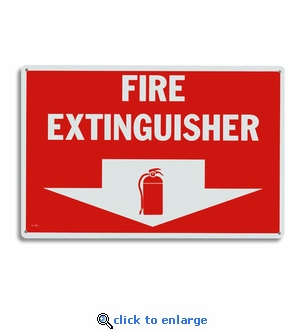 Rigid Plastic Fire Extinguisher Arrow Sign - 12