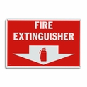"Rigid Plastic Fire Extinguisher Arrow Sign - 12"" x 8"""