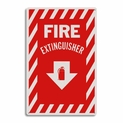 "Rigid Plastic Fire Extinguisher Arrow Sign - 8"" x 12"""