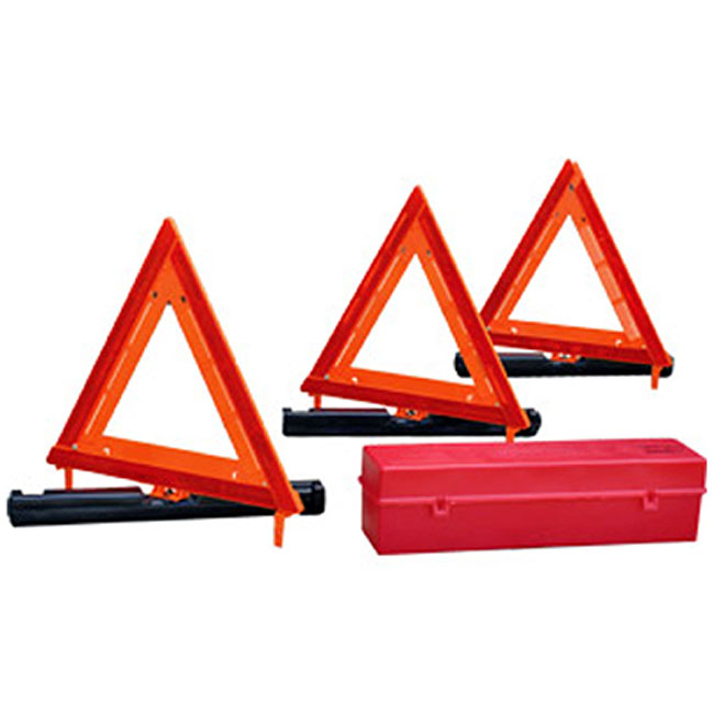 Flares and triangles are the beacons of an emergency kit.