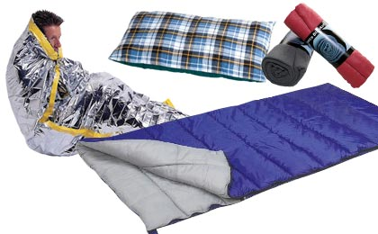 Emergency Solar Blankets Sleeping Bags Cots Airbeds