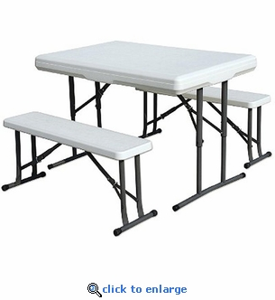 Stansport Folding Table with Bench Seats 44'' x 26'' x 28''