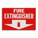 "Vinyl Self-Adhesive Fire Extinguisher Arrow Sign - 12"" x 8"""