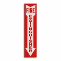 "Vinyl Self-Adhesive Fire Extinguisher Arrow Sign - 4"" x 18"""
