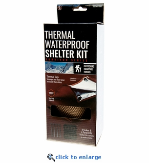 Waterproof Thermal Tarp Shelter Kit with Stakes and Paracords - 58