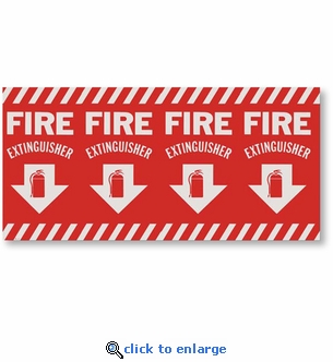 Pole Wrap-Around Fire Extinguisher Arrow Sign, 24 1/2