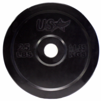 25lb Black Rubber Bumper Plates - Pair