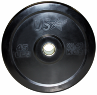 45lb Black Rubber Bumper Plates - Pair