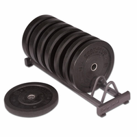 Body Solid 260lb Premium Bumper Plate Set W/Rack