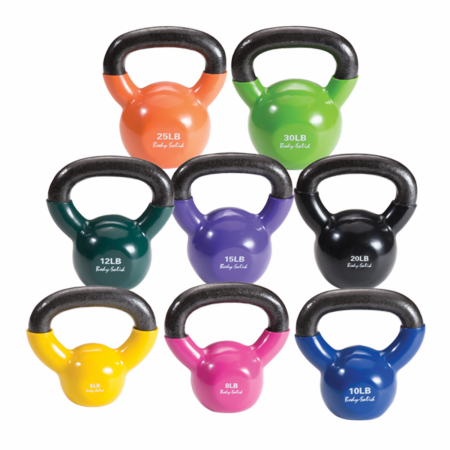 Body Solid Extra 5-30lb Vinyl Coated Kettle Bell Set