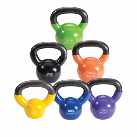 Body Solid 5-30lb Vinyl Coated Kettle Bell Set