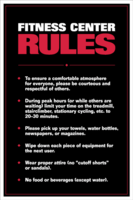 Fitness Center Rules Poster - Laminated $29.99