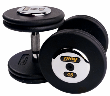 Troy Black Pro Style Dumbbells  W/Chrome Caps 5 - 50lb Set