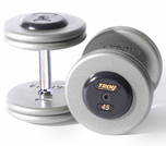 Troy Pro Style Dumbbell Sets Gray W/ Black End Caps