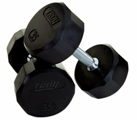 Troy Rubber Encased 12 Sided Dumbbells 5-100lb Set