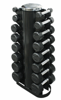 Troy Rubber Encased 3-25lb Dumbbell Set W/Rack