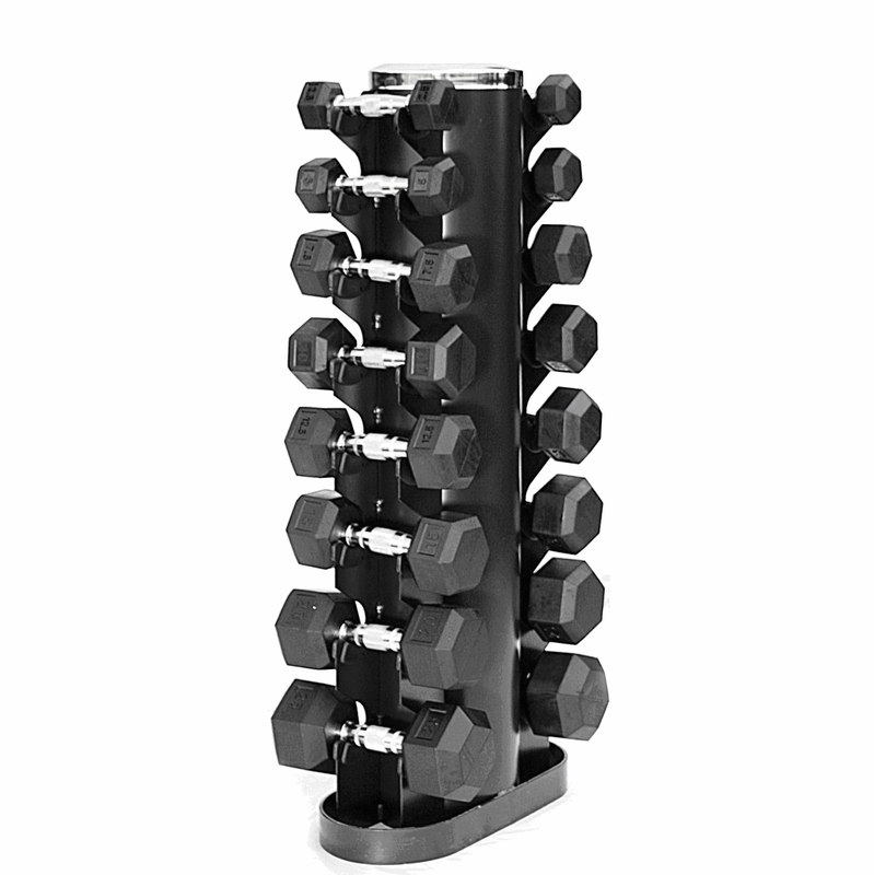 Rubber Dumbbell Set: VTX 3-25lb Rubber Coated Dumbbell Set W/Rack