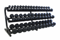 VTX 5-100lb Rubber Coated Dumbbells With Rack