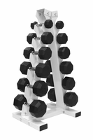 VTX 5-30lb Rubber Coated Dumbbell Set W/Vertical Rack