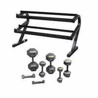 VTX 5-50lb Hex Dumbbells W/Deluxe 2 Tier Rack