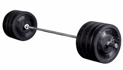 York 325lb Rubber Bumper Plate Set W/1500lb Test Bar