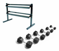 York 5-50lb Rubber Encased Dumbbells W/Rack