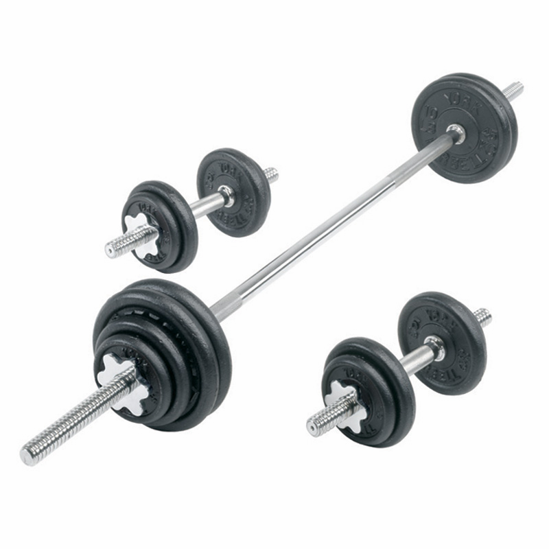 york legacy dumbbell set. york cast iron dumbbell/barbell set - 110lbs total weight legacy dumbbell