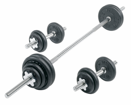 York Cast Iron Dumbbell/Barbell Set - 110lbs Total Weight