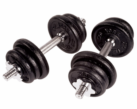 York Cast Iron Dumbbell Set - 90lbs Total Weight