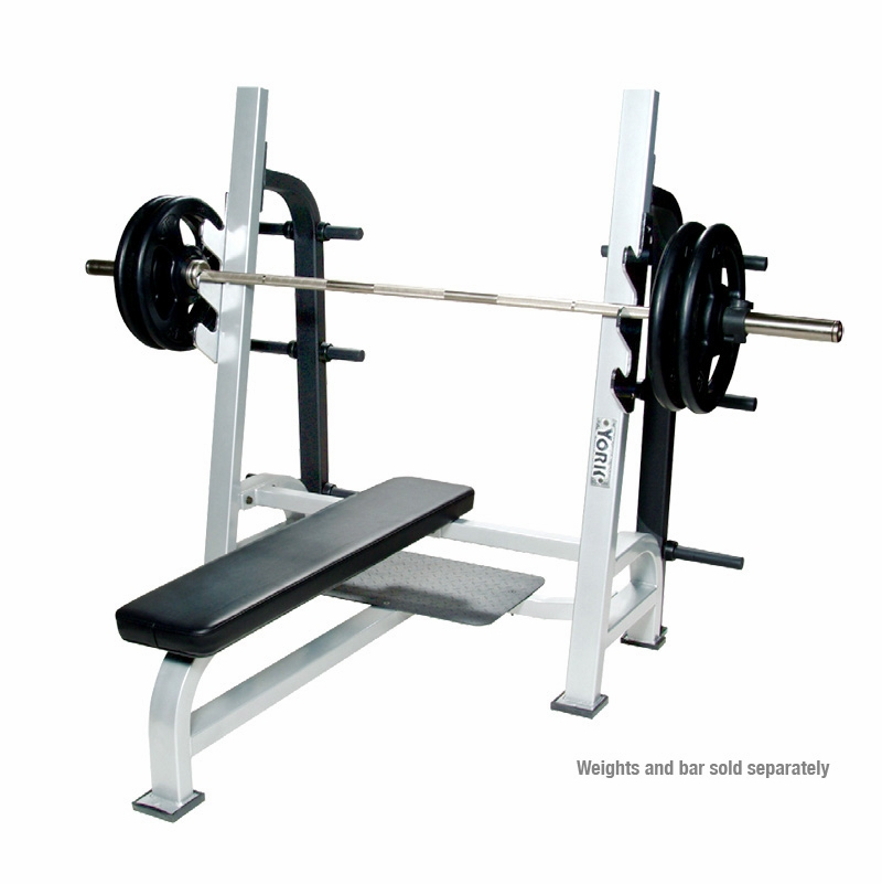 York commerical olympic flat weight bench Weight bench and weights