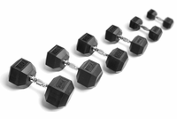 York Rubber Coated Hex Dumbbells 30-50lb Set