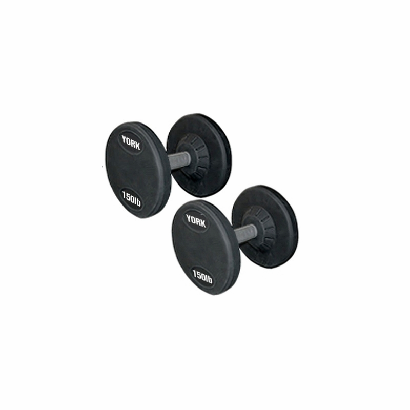 york weights. york rubber coated pro style dumbbells (130lb to 150lb) set weights -