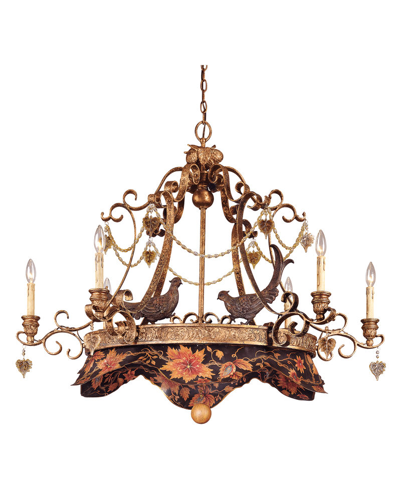 1 111 6 300 Tracy Porter Lighting Regal Pheasant Light Oval Chandelier In Hand Painted Metal W Vintage Gold Finish