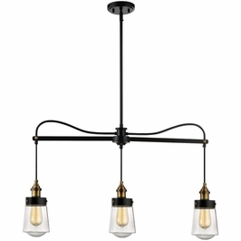 1-2062-3-51 Savoy House Transitional Macauley 3 Light Trestle in Vintage Black with Warm Brass