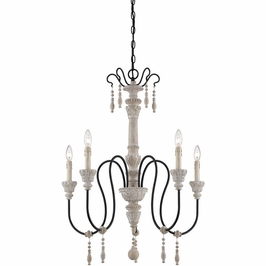 1-290-5-23 Savoy House Transitional Ashland 5 Light Chandelier in White Washed Driftwood