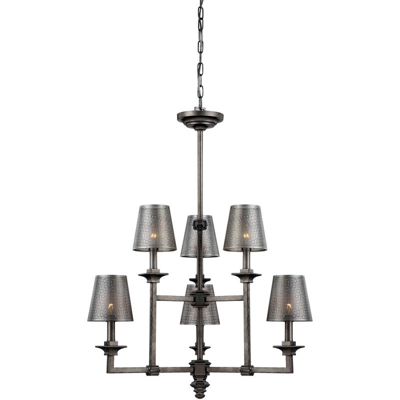 1 4300 6 242 Savoy House Raymond Waites Structure Light Chandelier With Aged Steel Finish