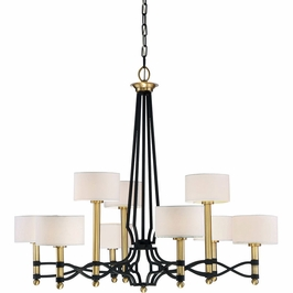 1-7081-9-30 Savoy House Transitional Exeter 9 Light Chandelier in Carbon w/ Warm Brass accents