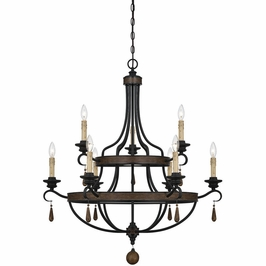 1-8902-9-41 Savoy House Transitional Kelsey 9 Light Chandelier in Durango