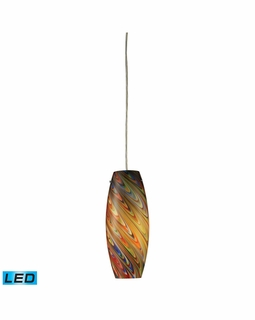 10079/1RV-LED ELK Lighting Vortex 1-Light Mini Pendant in Satin Nickel with Rainbow Glass - Includes LED Bulb