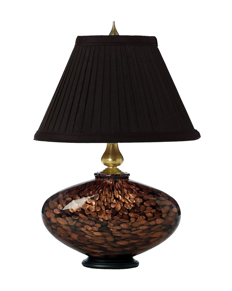 1012 C05 Tl01 Thumprints Cache Table Lamp Black With Gold Glitter And Brushed Accents Finish Pleated Silk Softback Shade