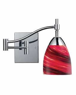 10151/1PC-A Elk Celina 1 Light Swingarm Sconce In Polished Chrome And Autumn Glass