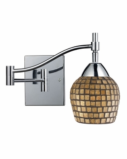 10151/1PC-GLD ELK Lighting Celina 1-Light Swingarm Wall Lamp in Chrome with Gold Mosaic Glass