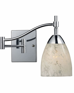 10151/1PC-SW ELK Lighting Celina 1-Light Swingarm Wall Lamp in Chrome with Snow White Glass