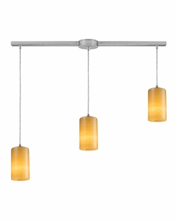 10169/3L ELK Lighting Piedra 3-Light Linear Pendant Fixture in Satin Nickel with Genuine Stone Shades