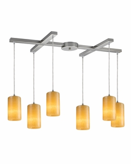 10169/6 ELK Lighting Piedra 6-Light H-Bar Pendant Fixture in Satin Nickel with Genuine Stone Shades